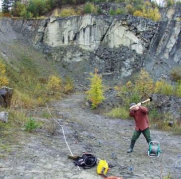 GeoSpectrum - Inżynierskie badania sejsmiczne w celu określenia miąższości warstwy zwietrzałej w kamieniołomie piaskowców