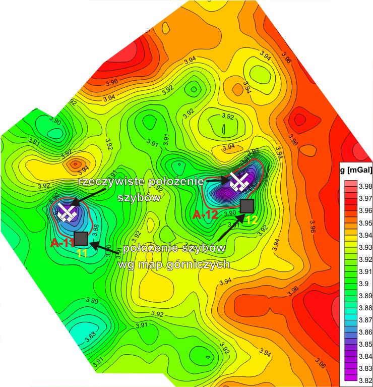 GeoSpectrum - Mapa anomalii siły ciężkości w redukcji Bouguera na podstawie badań mikrograwimetrycznych