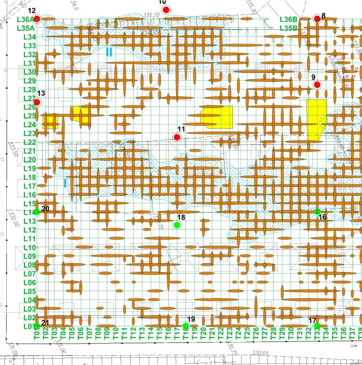 GeoSpectrum - Przykładowa mapa anomalii georadarowych wraz z interpretacją przestrzenną dla celów poszukiwania pozostałości obiektów w gruncie