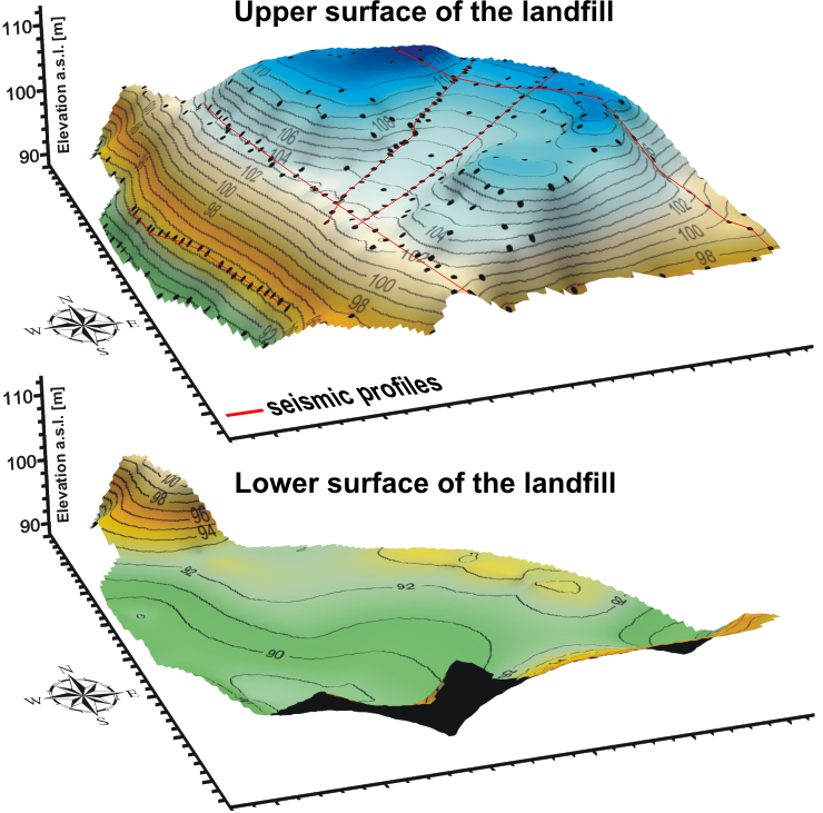 3D elevation maps of the municipal waste dump upper and lower surfaces