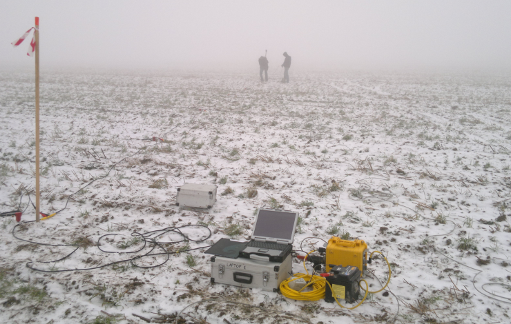 GeoSpectrum - Badania sejsmiczne MASW/MAM/ReMi podłoża pod fundament i plac montażowy turbiny wiatrowej